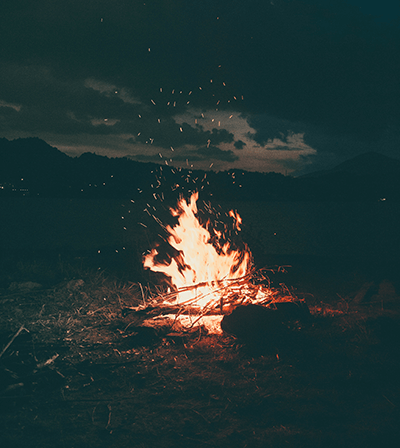 Campfire burning at night