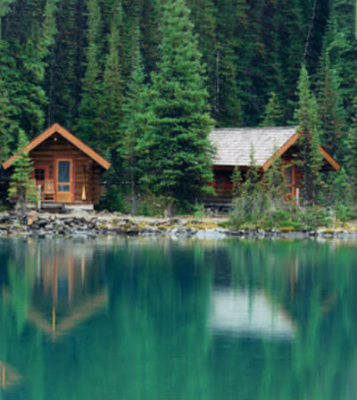 Two cabins on lakeshore